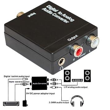 Conversor de audio digital a analógico con Digital óptico Toslink y S/PDIF Coaxial entradas y analógico RCA y AUX 3,5 mm (auriculares) salidas - 6 pies ...