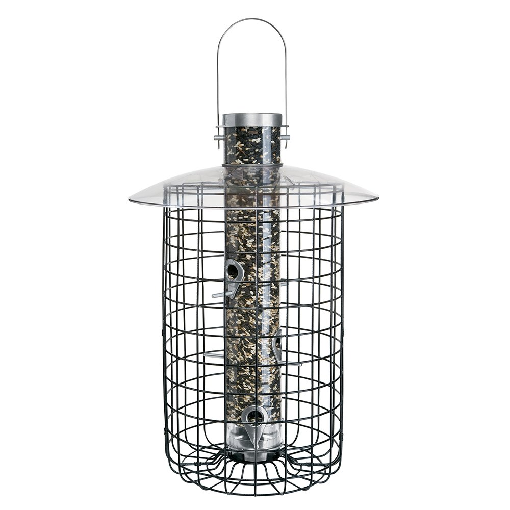 Droll Yankees Domed Cage Sunflower Seed Bird Feeder, 20 Inches, 6 Ports, Black