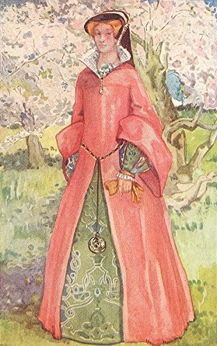 COSTUME. A Woman of reign Mary 1553-1558 - 1926 - old print - antique print - vintage print - Costume art (Reign Mary Costumes)