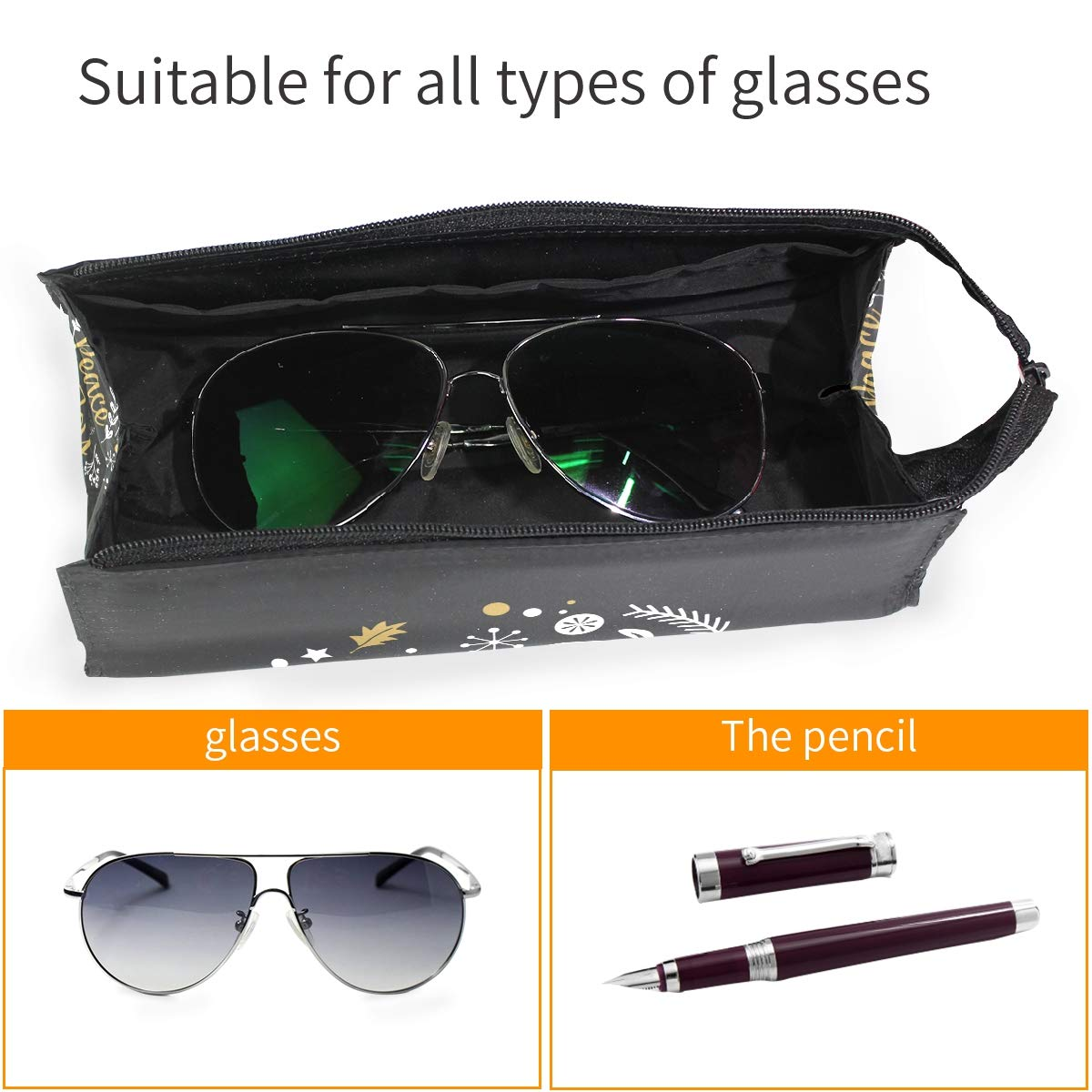 My Little Nest Eyeglass Sunglasses Holder Pouch Bag Peace Joy Love Multi Function Zipper Pen Case Pencil Bag Organizer