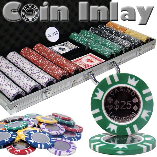 500 Count Coin Inlay Poker Set - 15 Gram Clay Composite Chips with Aluminum Case, Playing Cards, & Dealer Button for Texas Hold'em, Blackjack, & Casino Games by Brybelly ()