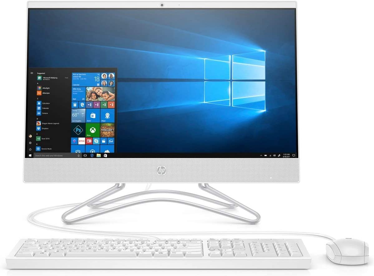"2020 HP 22 All-in-One Desktop Computer : 21.5"" Widescreen FHD/Intel Celeron G4900T 2.9 GHz/ 4GB DDR4 RAM/ 1TB HDD/DVD-Writer/AC WiFi/HDMI/Bluetooth/White/Windows 10 Home"