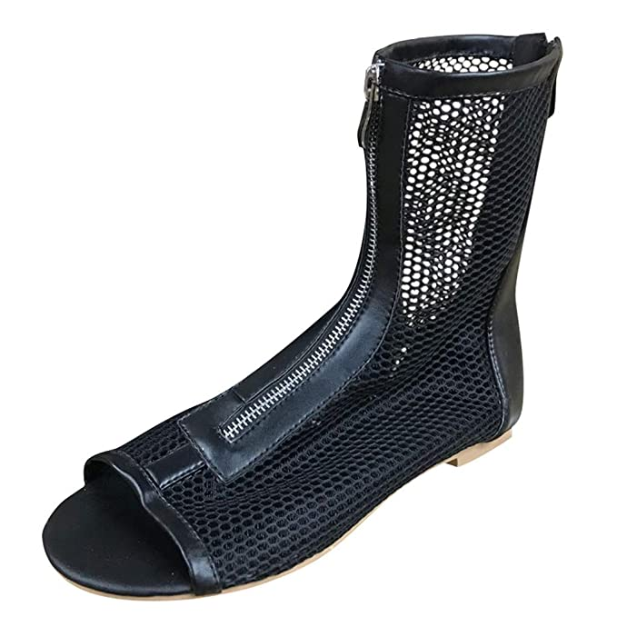 Mujeres Zapatos Casuales Malla Boca de Pescado Botas Cortas ...
