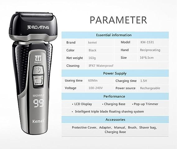 Kemei1531 Sistema de corte de cuchilla triple Máquina de afeitar eléctrica completamente lavable Pantalla LED inteligente Maquinilla de afeitar recargable Máquina de afeitar 110-240V: Amazon.es: Salud y cuidado personal