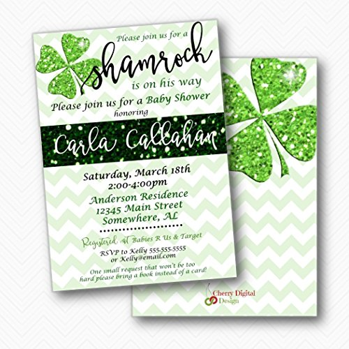 A little Shamrock St. Patrick's Day Baby Shower Invitations | Envelopes Included
