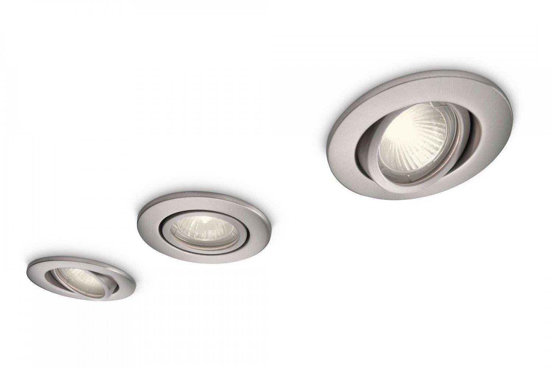 Massive Aqua IP23 Rated Adjustable Bathroom Downlights Satin Nickel 3 Pack Philips 59902/17/10