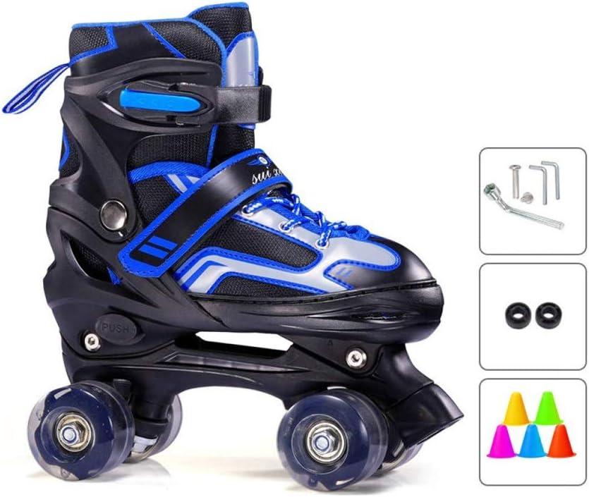 Ailj スケート、 初心者子供用複列ローラースケート 調節可能な屋内と屋外の四輪ローラースケート 2色 (色 : 青, サイズ さいず : L (37-42 yards)) 青 L (37-42 yards)
