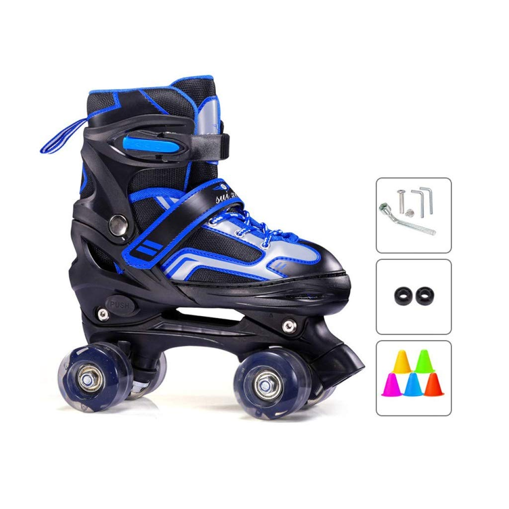 XZ15 スケート、初心者の子供の複列ローラーは調節可能な屋内と屋外の四輪ローラースケートスケート (Color : 青, Size : L (37-42 yards)) 青 L (37-42 yards)