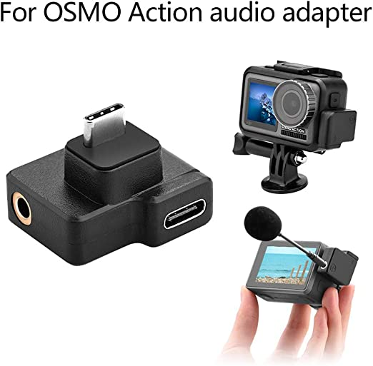Shan-S for DJI Osmo Action 4K Camera Dual 3.5mm//USB-C Mic Mount Microphone Charging Audio Adapter Compatible for DJI OSMO Action Cameras Accessories