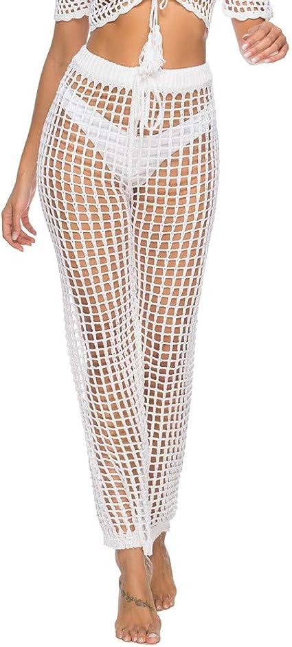 Pantalones De Playa Para Mujer Sexy De Malla Transparente Informales Con Red De Ganchillo Parte Inferior Hueca Para Traje De Bano Amazon Es Oficina Y Papeleria