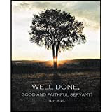 Well Done, Good And Faithful Servant Tree Sunrise 9 x 11 Wood Wall Sign Plaque