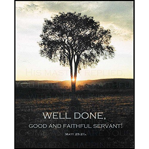 Well Done, Good And Faithful Servant Tree Sunrise 9 x 11 Wood Wall Sign Plaque by Dicksons