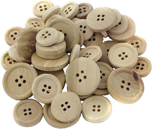 lot de 50 boutons mixtes de couleurs et modèles Boutons en bois