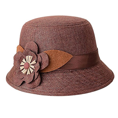 IUNEED New Fashion Women Flax Flower Bowler Hat Billycock Cap (Brown)