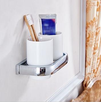 LD&P Accesorios de baño, titular de cepillo de dientes doble, estilo contemporáneo cerámica de