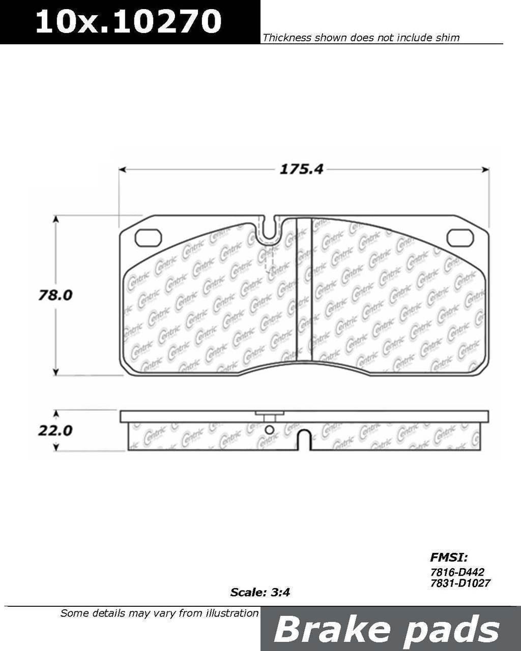 centric 100.10270 Oem Brake Pads by Centric (Image #1)