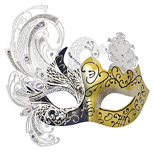 Party Mask, Cozypony Elegant Princess Peocock Laser Cut Metal Venetian Masquerade Masks for Halloween Mardi Gras Party or Prom (One Size, Black+Gold)
