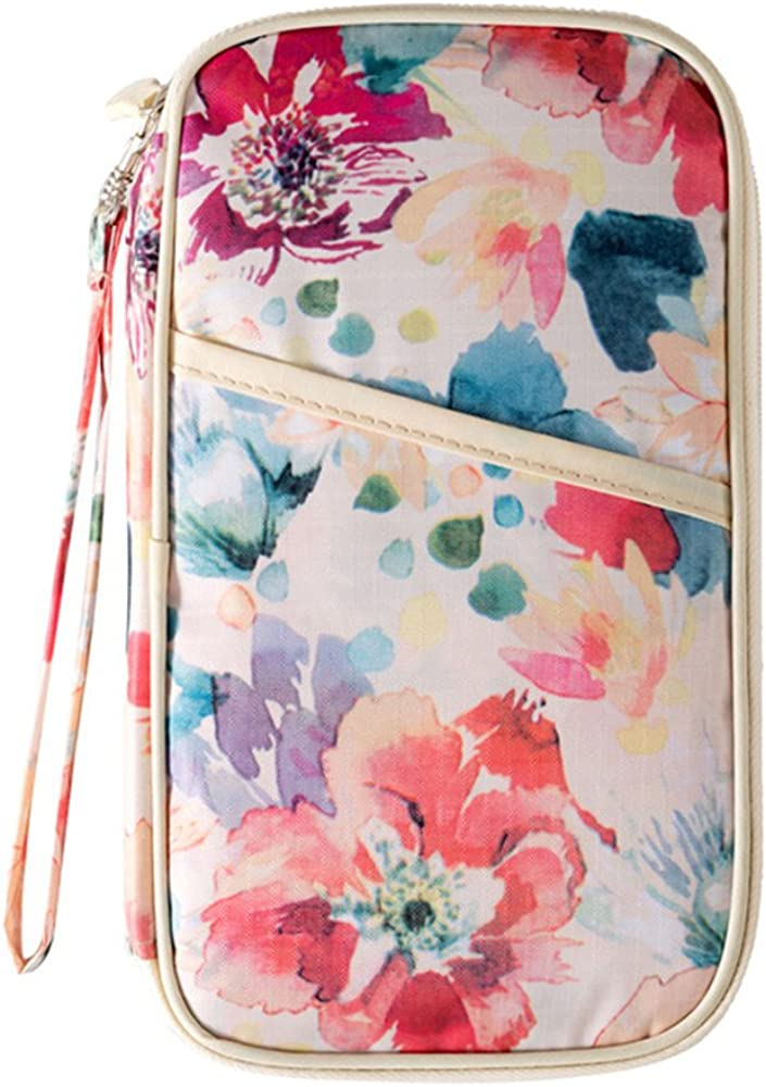 Mulit-Purpose Flower Print Passport Holder With Hand Strap DWR Women Travel Wallet