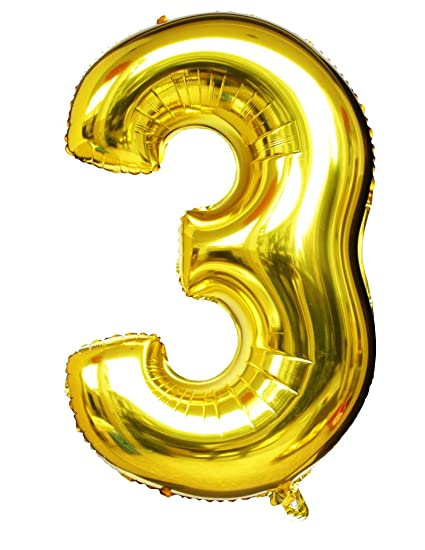 Langxun 40quot Number 3 Air Filled Helium Gold Mylar Balloons For Birthday Party