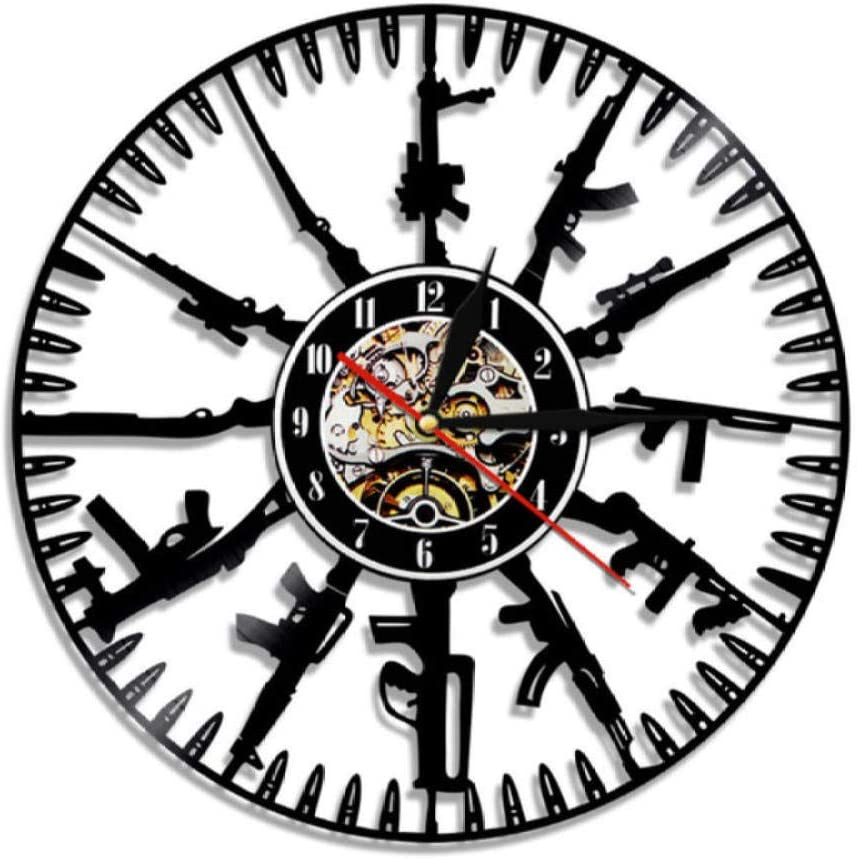 DFRFR Bullet Time Wall Clock Gun Ammunition Home Decoration Gun Owners Vinyl Record Wall Clock Military Wall Art Gift for Soldiers and Army