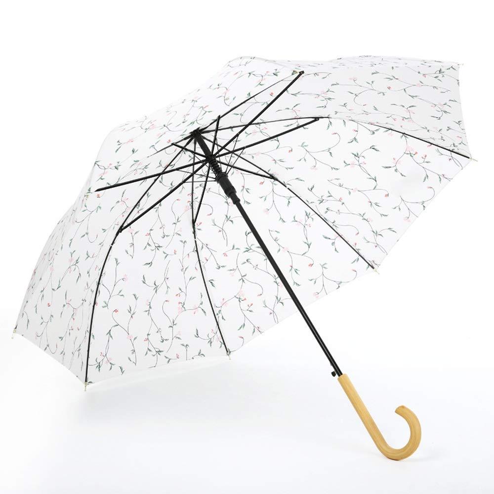Paraguas Largo para Mujer Mano de Madera 8 Huesos Resistente ...