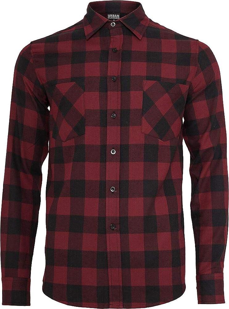 Urban Classics Camisa de Franela a Cuadros Hombre Camisa de Franela Negro/burgundi 5XL: Amazon.es: Ropa y accesorios