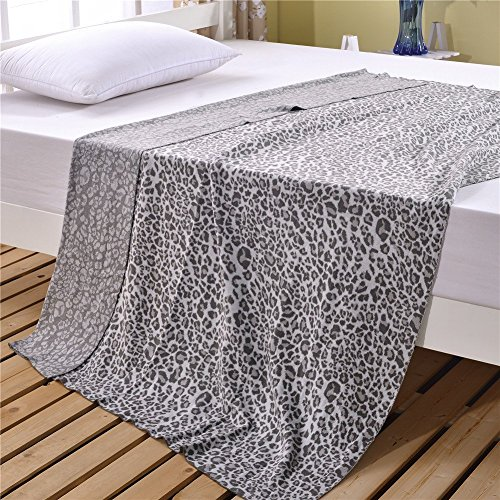 Youareking 100% Cotton Knitted Throw Blanket, Leopard Cozy-Soft Home Décor Suitable For Bed Sofa Car 51''x71'' (Gray)