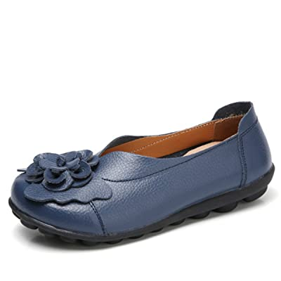 Socofy Slip On Leather Flat Shoes, Women's Outdoor Flower Decoration Handmade Casual Lazy Soft Loafers | Loafers & Slip-Ons