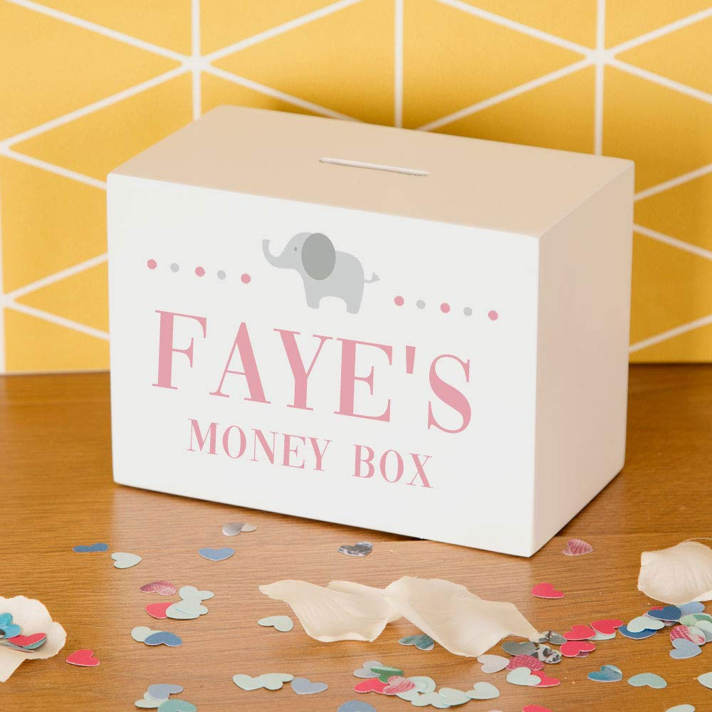 Personalised Printed Baby Elephant Bank Money Box Gift With Name Blue Pink  Wood