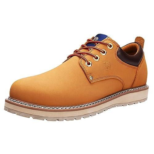 CAMEL CROWN Zapatos de Cordones para Hombre Oxford Zapatillas Casual Hombre Vestir Derby, 41-47 EU Negro Marrón Golden: Amazon.es: Zapatos y complementos
