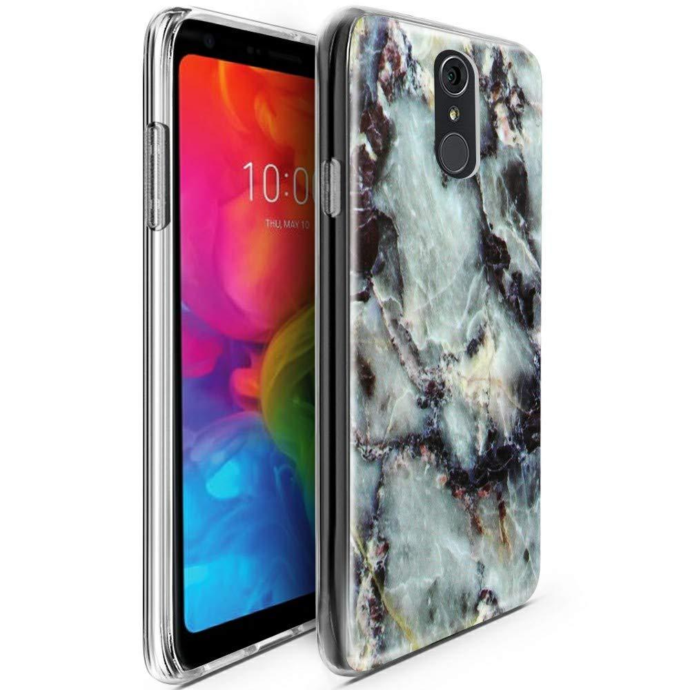 CLM-Tech Funda LG Q7/LG Q7 Plus/LG Q7α, Silicona TPU Case Mármol Gris Multicolor Carcasa para LG Q7 Cover