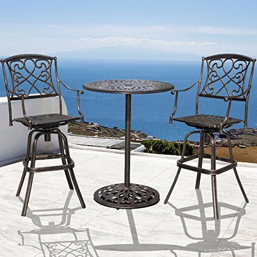 Counter Bistro Set Height (Sundale Outdoor 2 Pcs Counter Height Swivel Bar Stool and Bar Table Set All Weather Patio Furniture Bistro Set with Heavy Duty Aluminum Frame, Bronze)