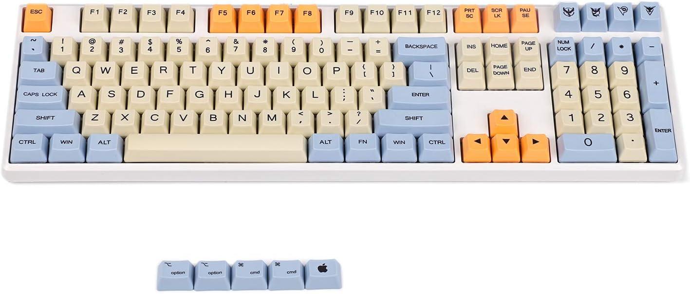 YMDK Blue Beige Orange Dye Sub 108 Key Mac Keys Thick PBT OEM Profile Keycap for Standard 104 TKL 60% MX Switches Keyboard (Only Keycap) (108 Plus Mac)