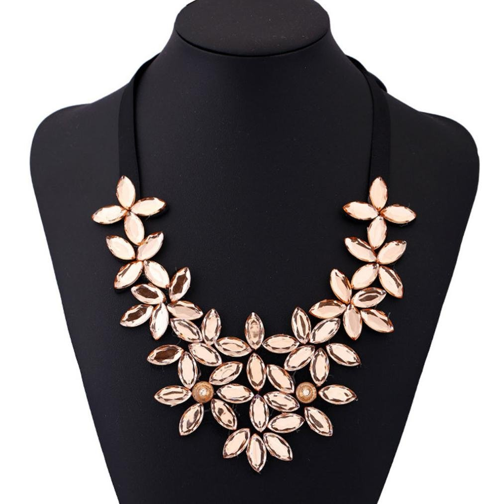 BSGSH Vintage Women Flower Choker Chunky Statement Bib Pendant Necklace Jewelry, Perfect Gifts for Women Girls Mother Friend (Gold)