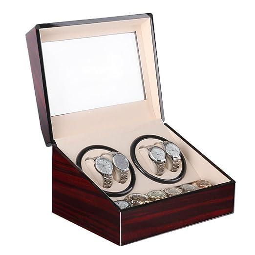 Caja giratoria para Relojes automatico Watch Winder Madera de Almacenamiento 4+6 Reloj de Pulsera: Amazon.es: Relojes
