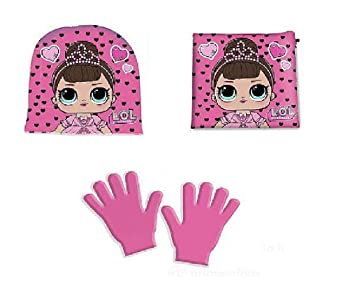 Set Invernale 3pz Cappello Guanti e Sciarpa Bambina Characters Cartoons LOL Surprise