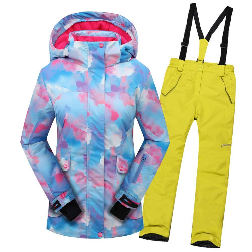 Top Bleu+pantalon Jaune B 6-7 ans  hauteur recomhommedée 120-125cm LPATTERN Enfant Garçon Fille Combinaison Imperméable de Ski Veste Pantalon épais Ski Doudoune Coupe Hiver 2PCS 2-12ans