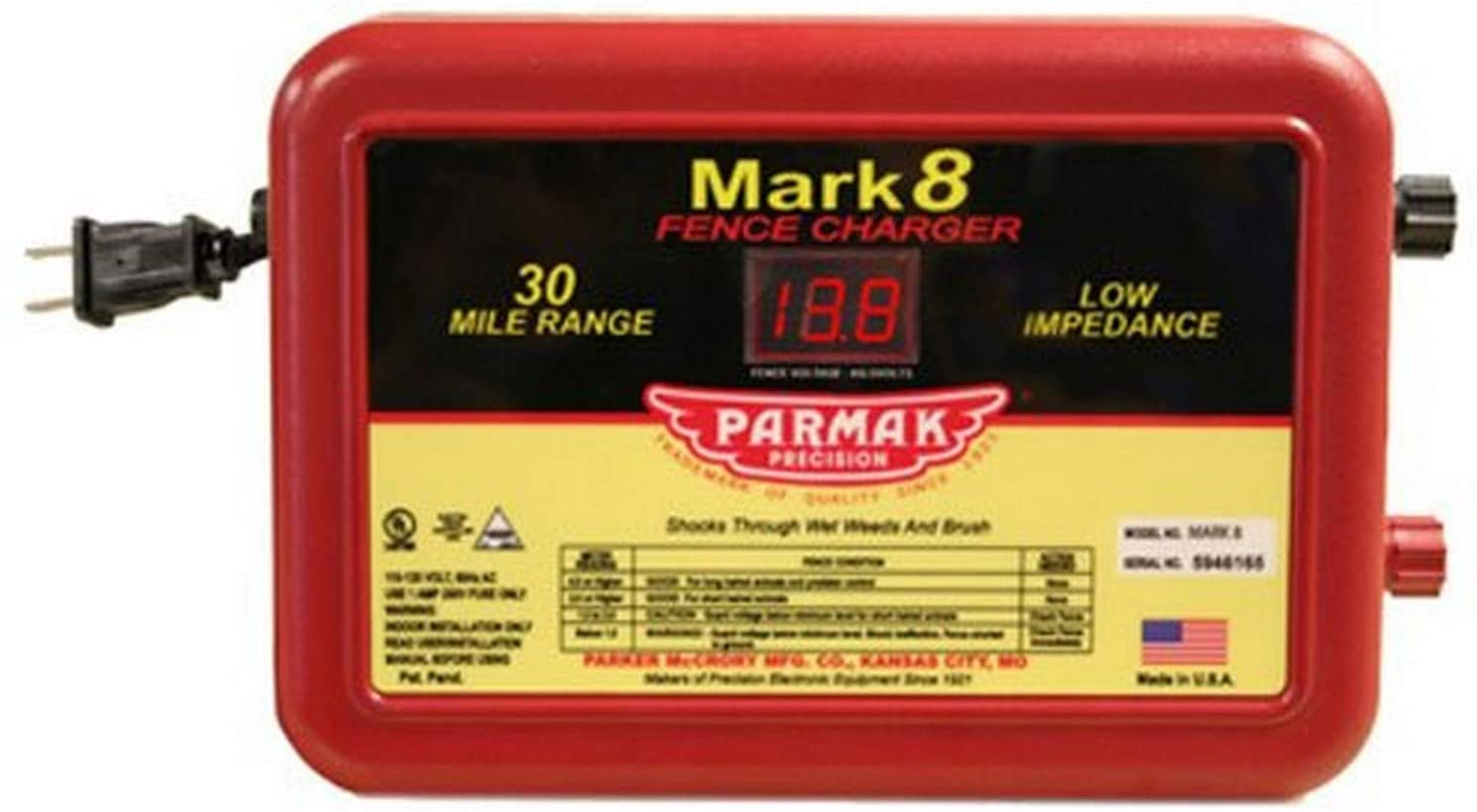 MARK8 Low Impedance 110/120-Volt 30-Mile Range Electric Fence Charger(reflecting); Indoor only; Ideal for livestock or predator control; UL listed (US & Canada) (MADE in USA)