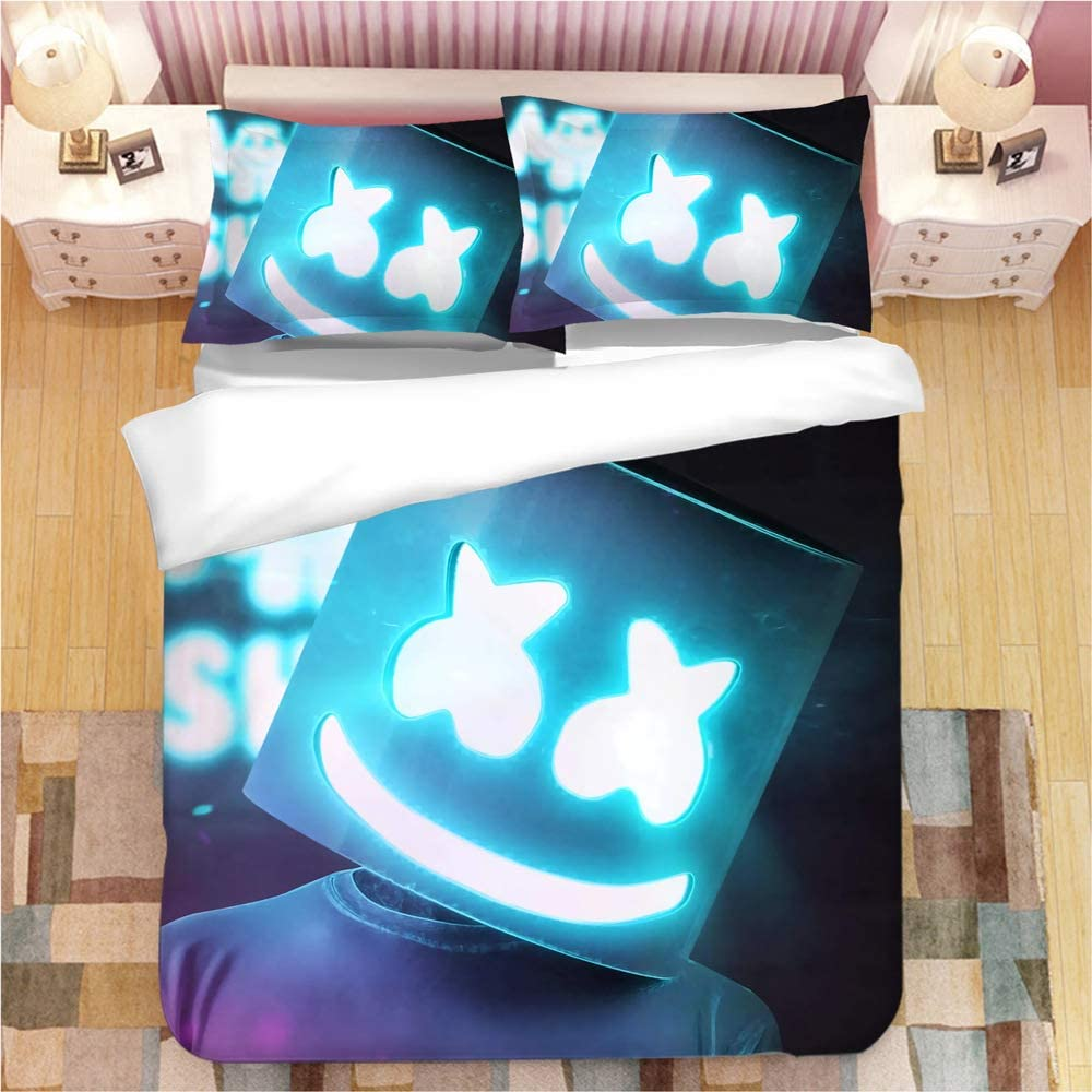 Sunday 3D DJ Marshmallow Duvet Cover Printed Bedding Set 3 Piece with Soft Microfiber, 1 Duvet Cover 2 Pillowcases, Queen Size