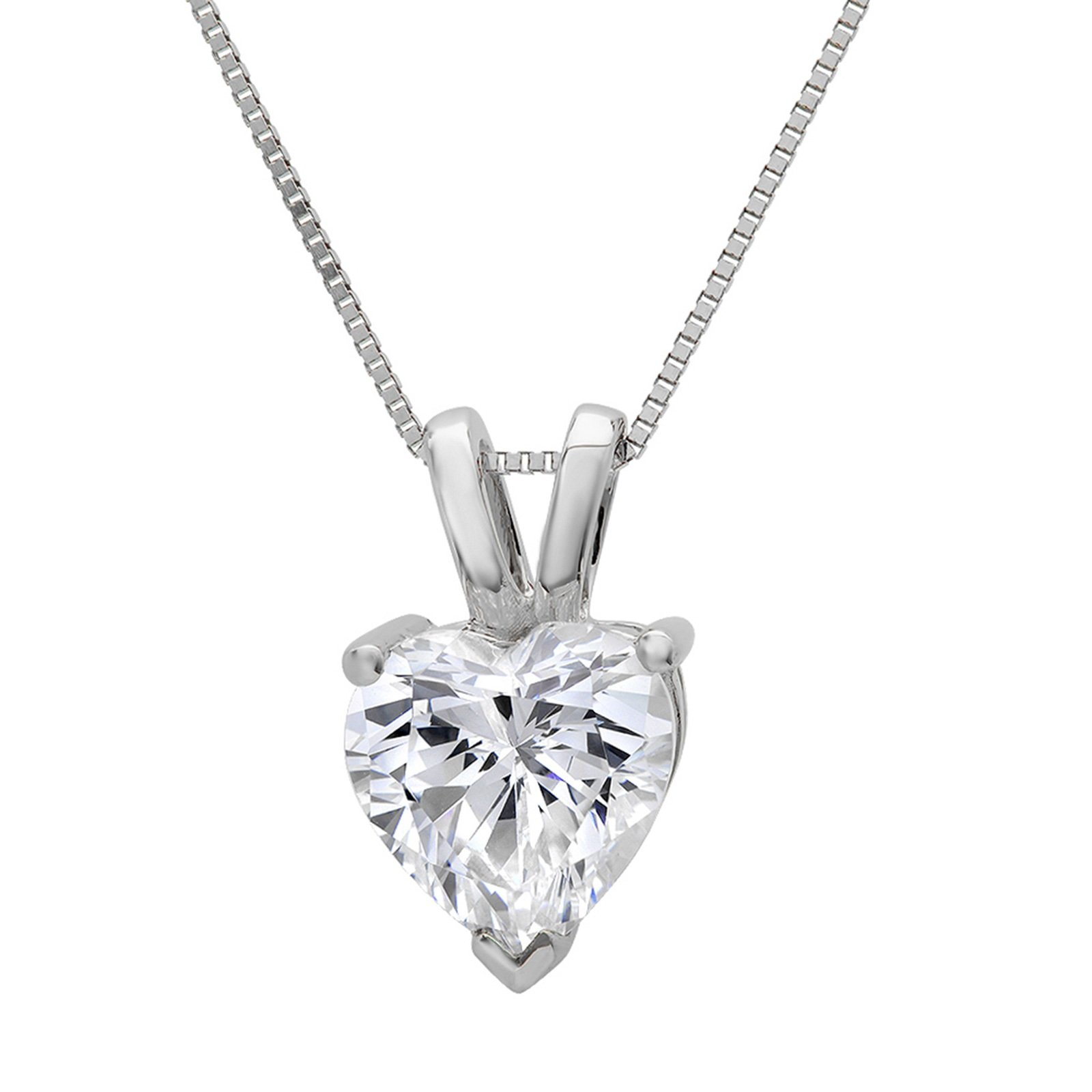0.55 ct Brilliant Heart Cut Highest Quality Created White Sapphire Ideal VVS1 D Solitaire Pendant Necklace With 16'' Gold Chain box Solid 14k White Gold, Clara Pucci