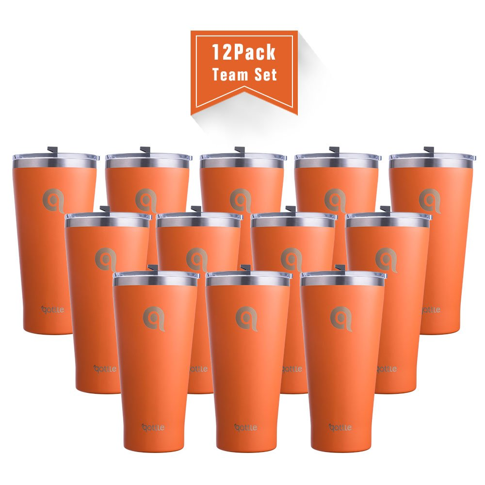 qottle 30 oz Stainless Steel Tumbler, Orange Powder Coated Double-wall Cups(Teal with Spill Proof Lid) , 12pack for Club Team