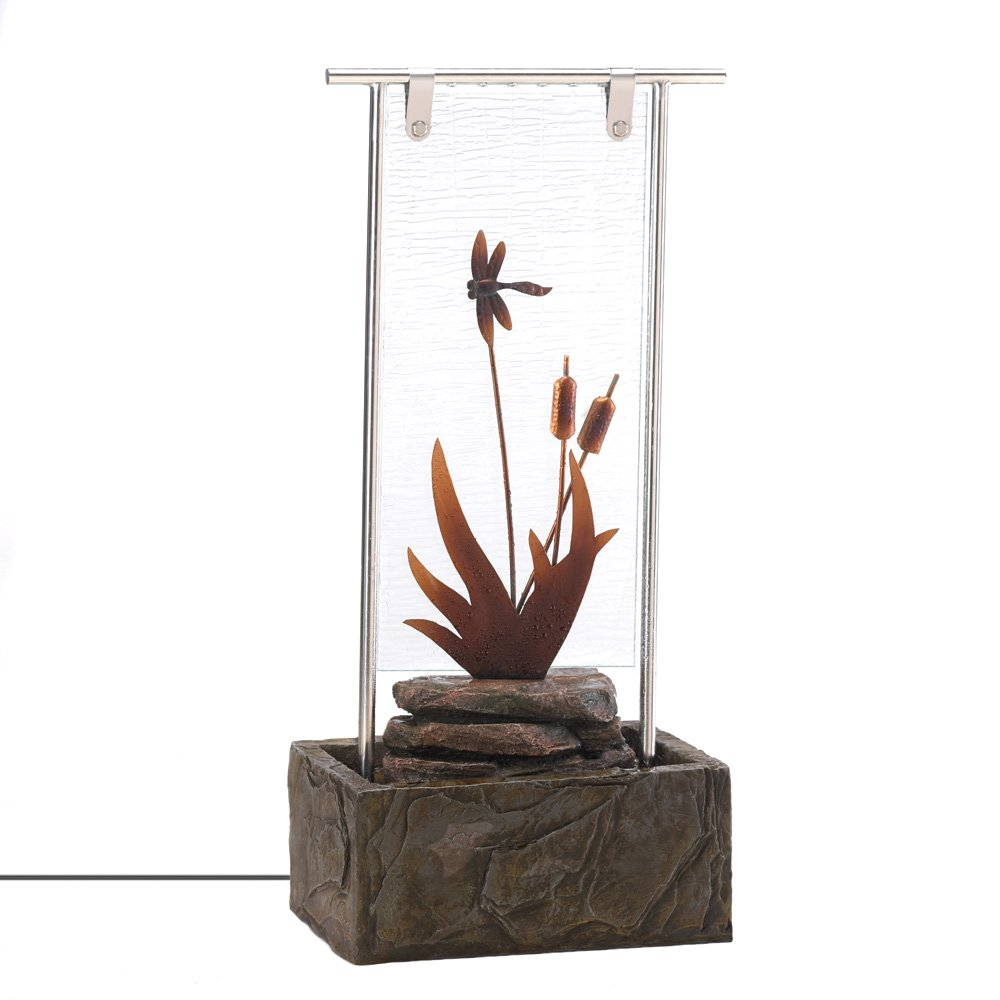 Amazon.com: Dragonfly Serenity Lit Glass Outdoor Water Fountain ...