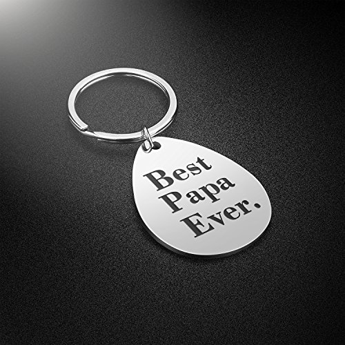 Keychain Gifts for Dad Father - Dad Gift Idea from Wife Daughter Son Kids, Stainless Steel, with Gift Box, Christmas Birthday Fathers Valentines Day Gift for Men Husband (Best-Papa-Ever)