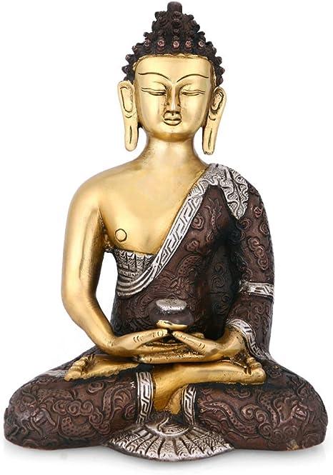 Craftvatika Grande Latón Estatua Buda Meditando Tibet Budista Figura De Buddha Yoga Statue Decorative Figura Home Kitchen