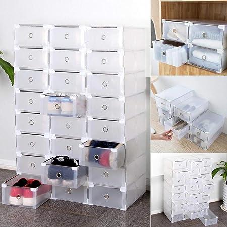 Homgrace 10 Cajas/12 Cajas/24 Cajas para Zapatos Transparente Plástico, Caja Guardar Zapatos, Calcetines, Juguetes, Cinturones para la organización de su hogar, Oficina (24 Cajas): Amazon.es: Juguetes y juegos