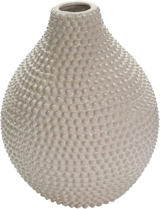 Sagebrook Home 12068-11 Decorative Ceramic Spike Vase, White, 9.5 x 9.5 x 10 Inches