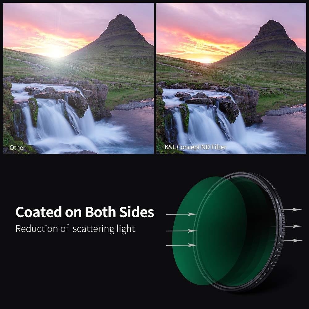 K/&F Concept 72MM Filtro ND Variable ND8-ND2000 Slim MRC 18 Capas para C/ámara Lente NO X Spot con Funda