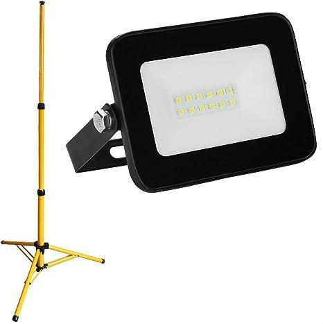 Schwarz 2x Kaltweiß 10W LED Fluter Außenlicht Stativ Flutlicht Scheinwerfer IP66
