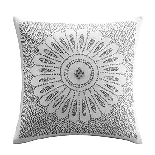 Ink+Ivy Sofia Cotton Modern Accent Throw Pillow, asual Embroidered Square Fashion Decorative Pillow, 20X20, (Embroidery Ink)