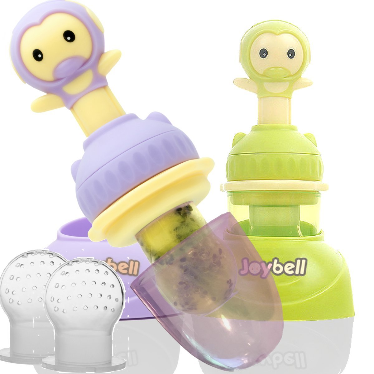 2 Easy Hold Fruit Feeder Pacifiers with Stands | Feeding Toy | Stand, Dust Cover, Medium and Large Silicone Pouches | Plus eBook on Starting Baby on Solid Food | Purple & Green 2 Pack